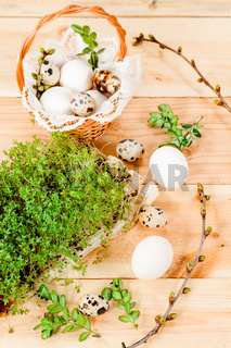 Preparing basket with eggs for blessing at Easter