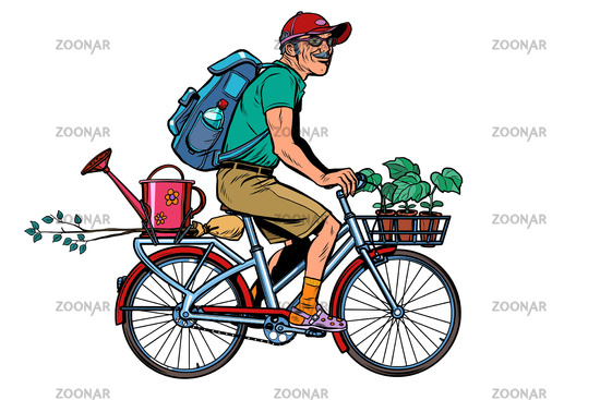 gardener old cottager on the bike