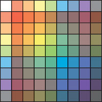 Polychrome Multicolor Spectral Versicolor Rainbow Grid of 9x9 segments. The spectral harmonic colorful palette of the painter.