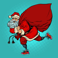 Santa Claus disabled on prostheses delivers gifts for Christmas