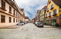Street with old half-timbered houses in Selestat, Alsace, France