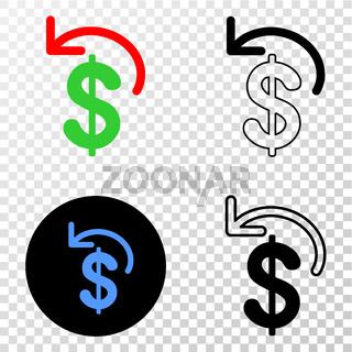 Dollar Refund Vector EPS Icon with Contour Version
