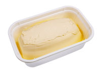 Creamy margarine in an industrial plastic container isolated