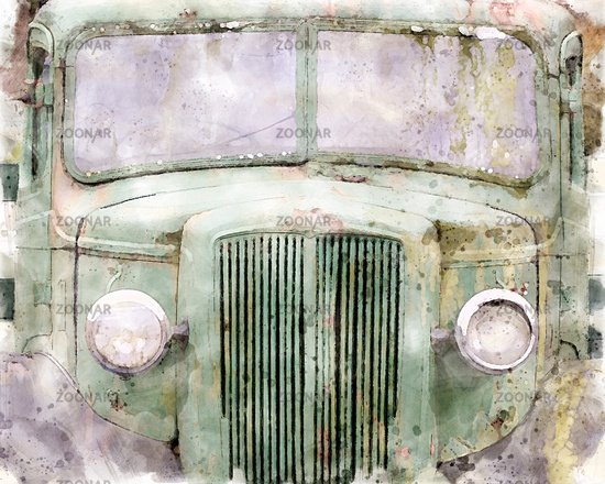 a front view of an old abandoned green rusty 1940s truck