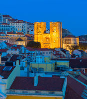 Lisbon Cathedral twilight church Portugal