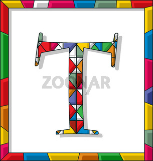 Letter T in stained glass