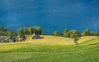 Green fields and blue lake in Swiss village