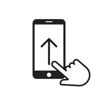 Swipe up arrow on smartphone icon with hand or pointer. Phone screen. Move finger.