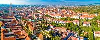 Zagreb cathedral and upper city aerial panoramic view