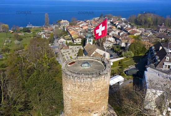 Hermance am Genfersee mit rundem Wachturm, Kanton Genf, Schweiz