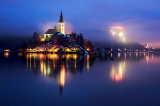 Foggy dusk in Bled lake