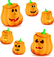 Set of halloween pumpkins with variations of illumination, part 22