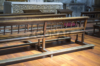 Chapel, benches to pray inside a church. concept of faith and religion