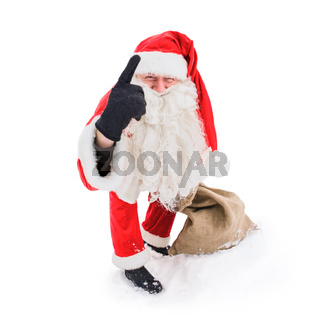 Santa Claus pointing with his index finger up