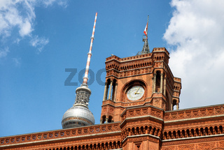 Red Rathaus in Berlin with Alexanderplatz tower on background