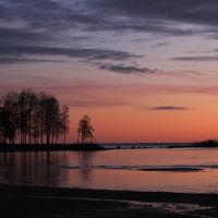 Sunrise scene at Lake Vanern. Largest lake of Sweden and the EU. Third largest lake of Europe.