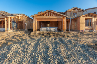 New Wood Houses Framing at Construction Site