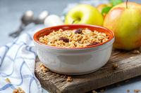 Organic granola with raisins and apples.