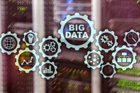 Big Data Concept of hi tech and innovation in business and production. Virtual screen on data center server background