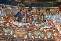 Das Letzte Abendmahl,Fresken in der Apsis der Basilka im St. Georg Kloster,Ubisa, Imeretien,Georgien