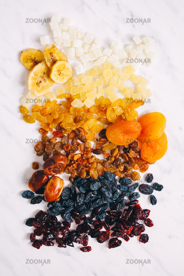 Set of fried fruits scattered on the table