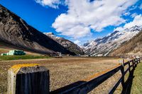 Mountain valley with field, Livigno, Italy, Alps