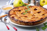 Traditional lattice apple pie.