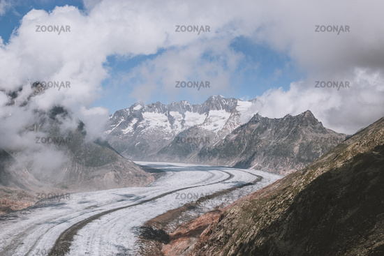 Panorama of mountains scene, walk through the great Aletsch Glacier