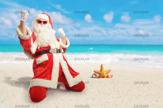 Cheerful Santa Claus is happy  about his perfect vacation destination