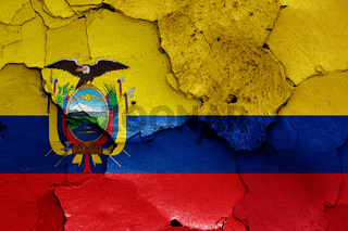 flags of Ecuador and Colombia painted on cracked wall