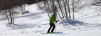 Skier downhill on snowy ski slope with birch trees