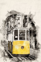 Watercolor Tram Lisbon