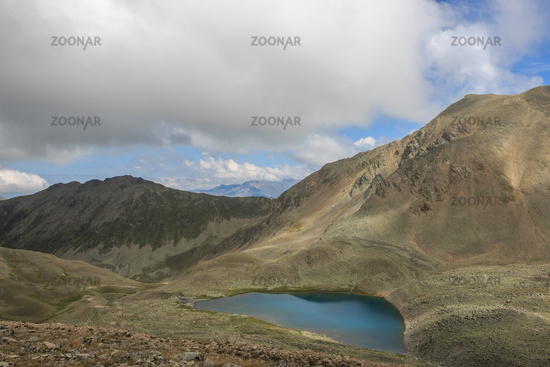Panorama of lake scenes in mountains, national park Dombay, Caucasus