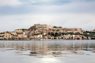 view to Milazzo Sicily Italy with castle from sea