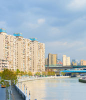Skyline Shanghai apartment buildings river