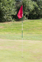 Red flag on a golf track