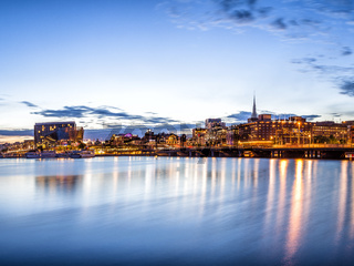 Stockholm sunset skyline panorama with City Hall