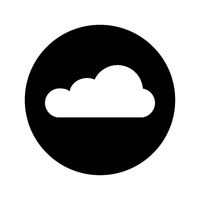 Vector icon of cloud. Black background. White cloud. Sign of weather. Symbol cloud. Button cloud. Flat design. EPS 10.