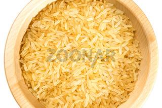Organic rice on white background.