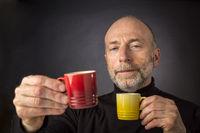Espresso anybody!? Man headshot with coffee
