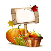 Wooden banner with Orange pumpkin, Autumnal leaves and basket full ripe apples