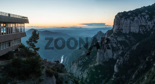 Panoramic at dawn of the province of Barcelona from the viewpoint of the Montserrat Mountain