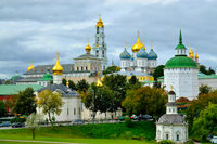Sergiev Posad, Moscow region, Russia - August 15, 2019: Trinity-Sergiev Lavra, the most important Russian monastery and the spiritual centre of the Russian Orthodox Church