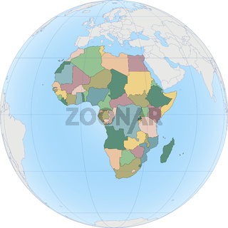African continent on the Globe