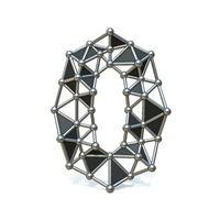 Wire low poly black metal Number 0 ZERO 3D
