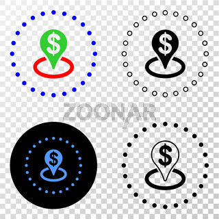 Bank Placement Vector EPS Icon with Contour Version