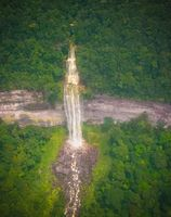 Aerial view to unnamed waterfall near Kaieteur waterfall, one of the tallest falls in the world - Guyana