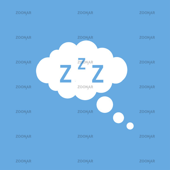 Cloud with zzz and bubbles on blue background. Sleeping illustration. Comic or phrase design.