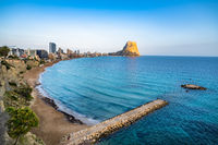 Panoramic view of Calpe town and Penon de Ifach rock, Valencia, Spain