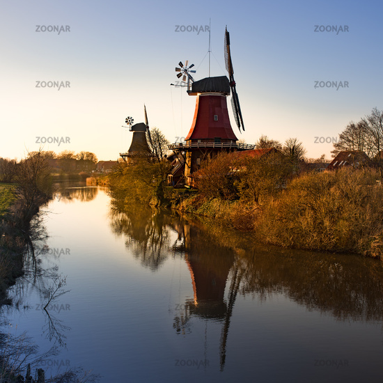 the beautiful greetsieler twin mills in the evening light